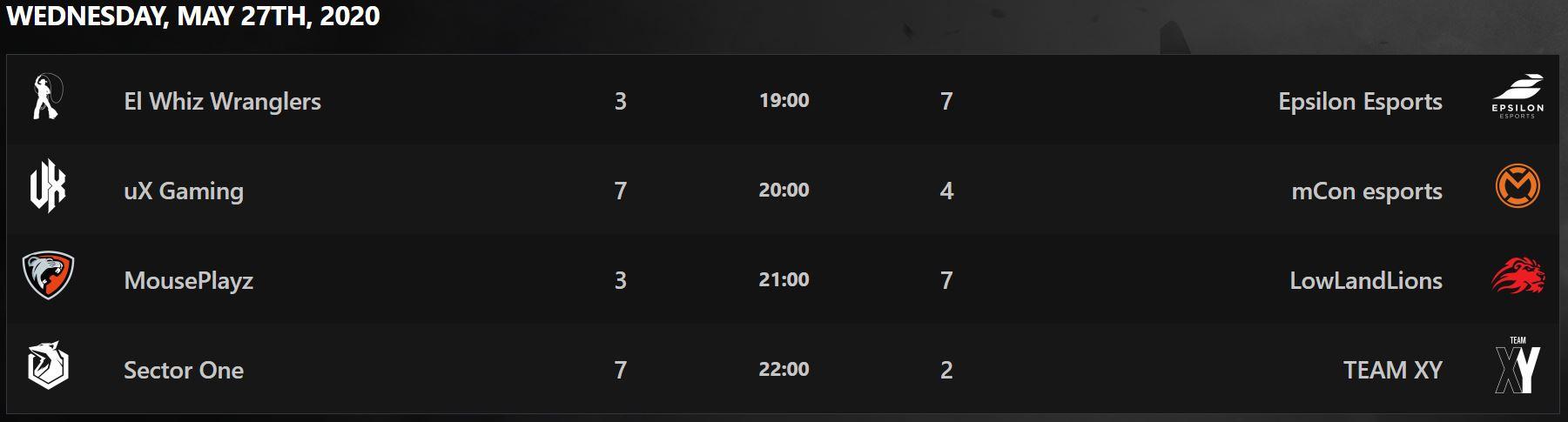 Rainbow Six Siege Benelux League Schedule Mercredi 27 mai